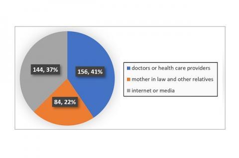 Source of information regarding drug use in current pregnancy (n=384)