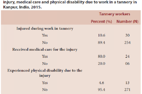 Percent distribution of tannery workers who experienced injury, medical care and physical disability due to work in a tannery in Kanpur, India, 2015